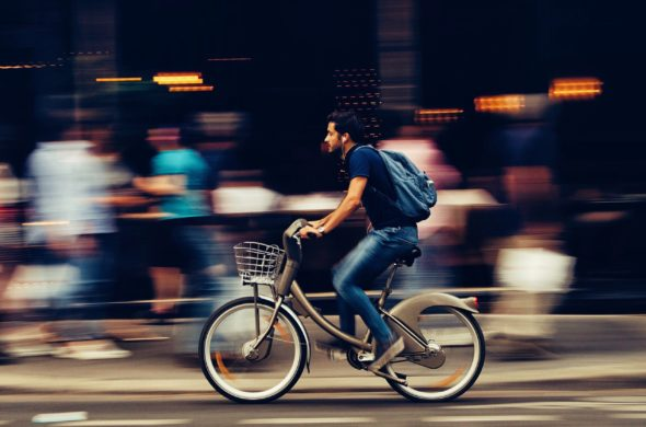 Bike to work, riding in on your daily commute